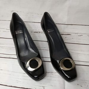Stuart Weitzman Black Patent Leather Silver Buckle